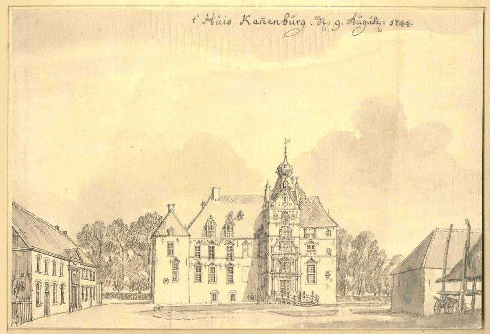 De Cannenburch in Vaassen. Tekening Jan de Beijer, 1744